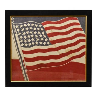 Antique 43 Star American Flag Bunting, Rare, Framed, Americana For Sale