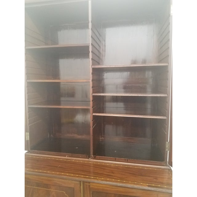 Brown Antique English Bookcase Cupboard - Mahogany With Marquetry For Sale - Image 8 of 13