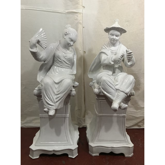 Italian White Glazed Asian Figures a Pair For Sale - Image 9 of 9