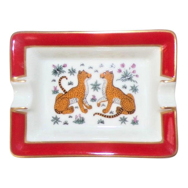 Vintage Hermes Porcelain Les Leopards Ashtray / Catchall For Sale