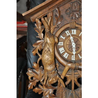 Antique Black Forest Carved Wood Cuckoo Clock With Hunting Trophies Preview