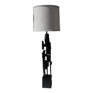 1960s Brutalist Harry Balmer Iron Table Lamp For Sale