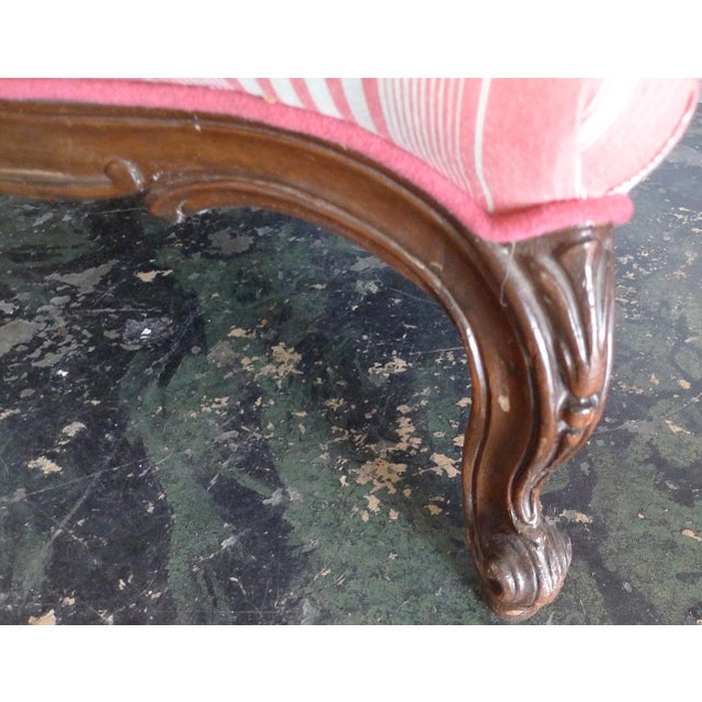 Pink 19th Century French Walnut Bergere Armchair Reupholstered With New Fabric. For Sale - Image 8 of 11