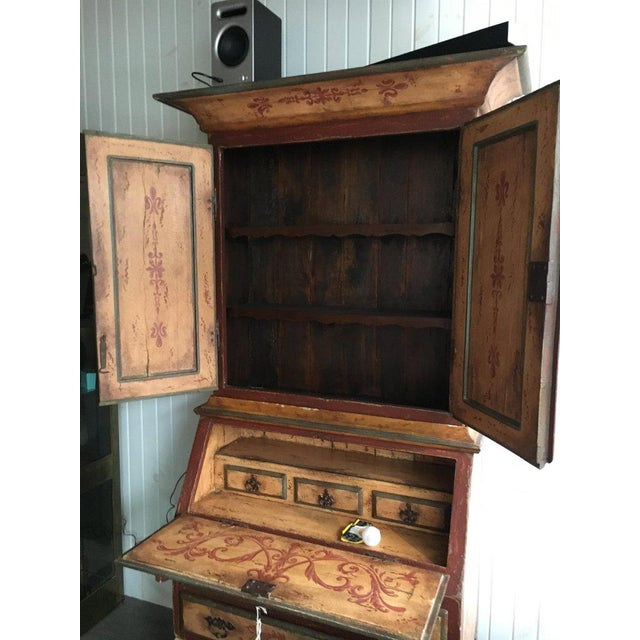 Italian Italian Bureau Bookcase, Two Doors Over Slant Front Fitted Desk For Sale - Image 3 of 5