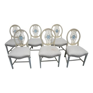 French Painted Six Dining Chairs 3443 For Sale