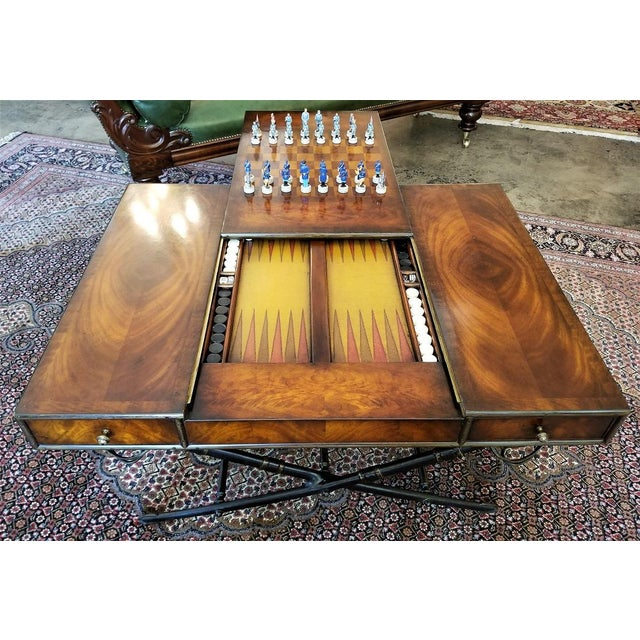 Civil War Themed Mahogany Games Table With Sword Legs For Sale - Image 9 of 13