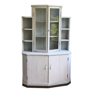 Antique Pine Hutch Painted Light Green For Sale