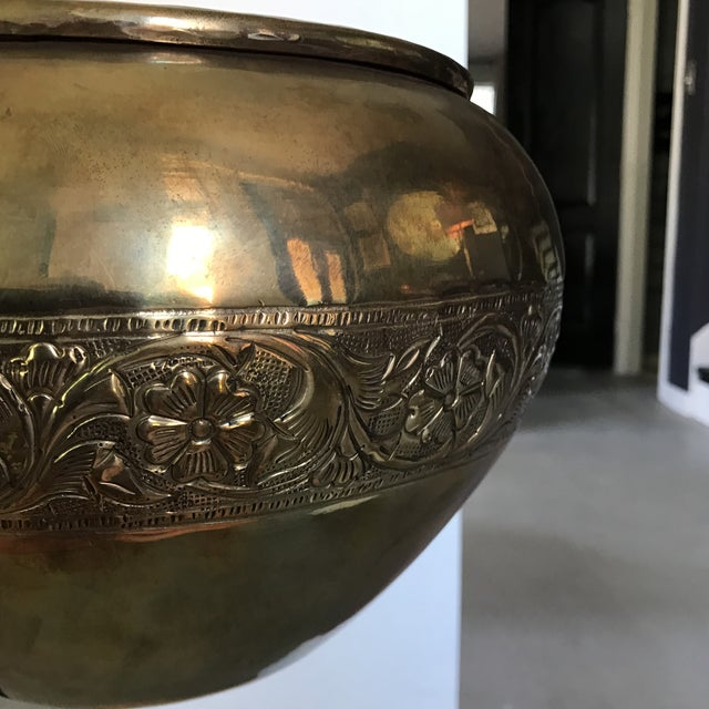 Embossed Brass Planter Pot For Sale - Image 4 of 4