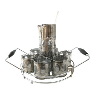 Mid-Century Textured Silver Cocktail Set With Carrier For Sale