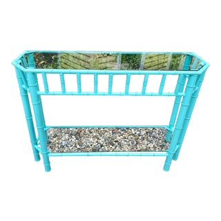 Palm Beach Style Caribbean Blue Two Level Console Table For Sale