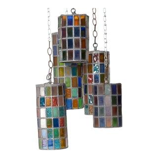 Feders Delfinger Modernist Colored Glass Hanging Pendant Lamp Set For Sale