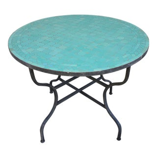 "Moroccan 40"" Aqua Blue Mosaic Coffee Table For Sale"