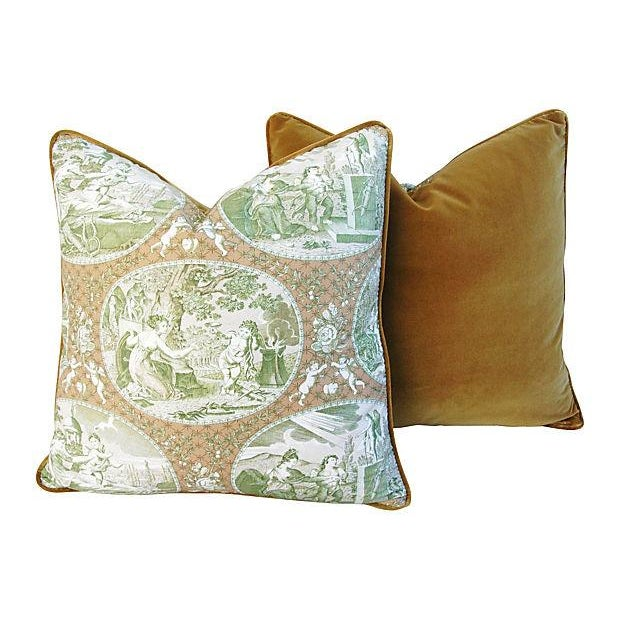 Custom Scalamandre Cupido Toile Pillows - A Pair - Image 4 of 6