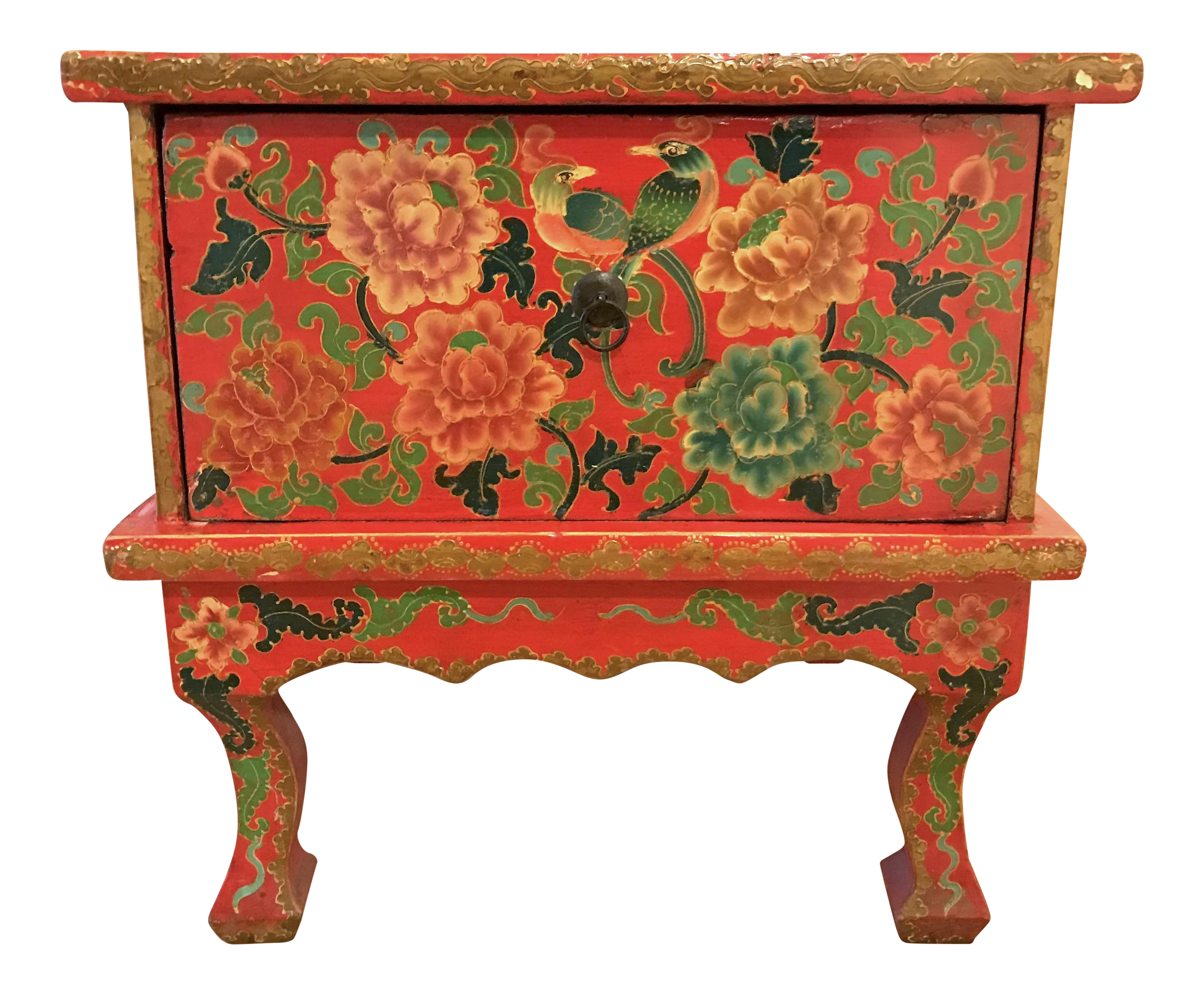 Red Lacquer Chinese Side Table
