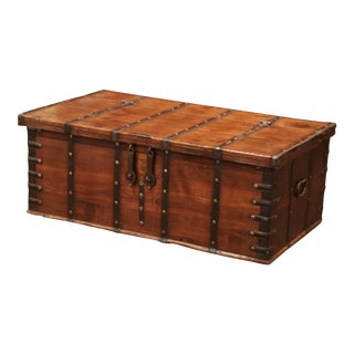 19th Century English Chestnut and Wrought Iron Strapping Coffee Table Trunk For Sale