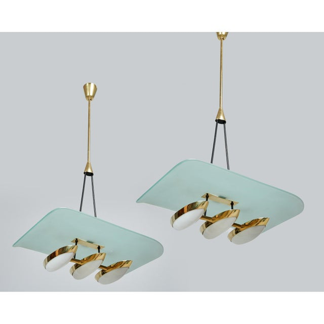 Mid-Century Modern Angelo Lelii for Arredoluce Glass, Brass and Perspex Pendant Chandeliers, Italy 1950's - a Pair For Sale - Image 3 of 10