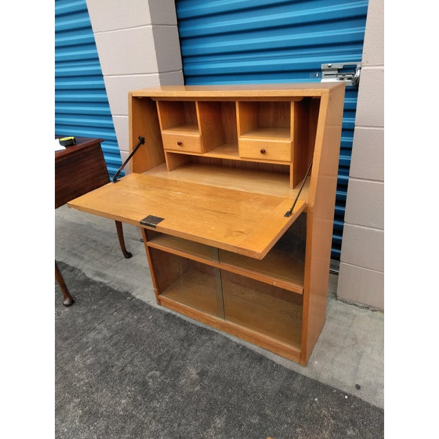 Mid Century Modern Light Yellow Secretary Bookcase For Sale In Houston - Image 6 of 10