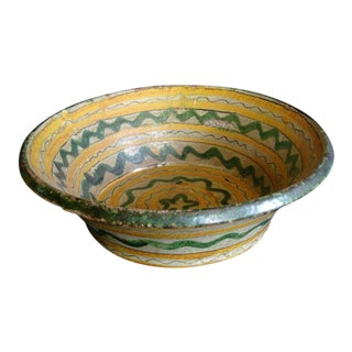 18th-19th Century Majolica Ceramic Baptismal Bowl For Sale