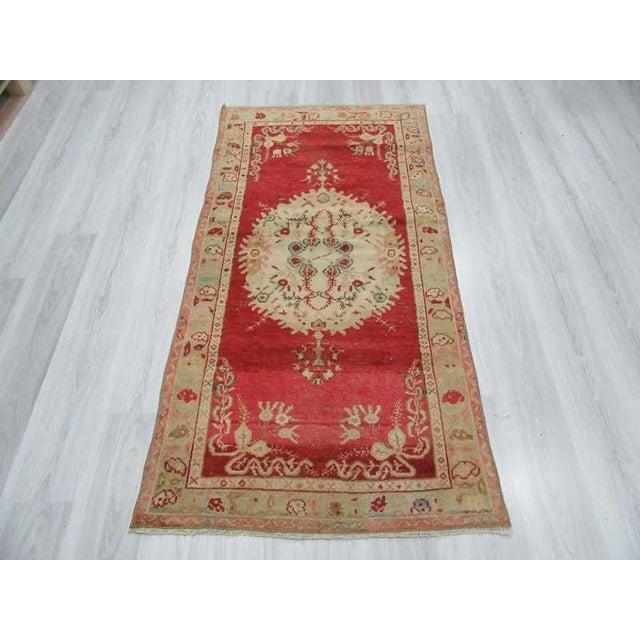 Islamic Vintage Turkish Oushak Rug - 3′1″ × 6′4″ For Sale - Image 3 of 6