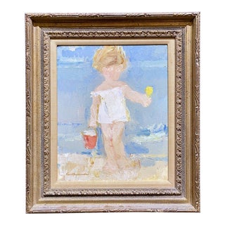 "Mid 20th Century ""Girl at the Beach"" Abstract Figurative Oil Painting by Kosmoswski, Framed For Sale"