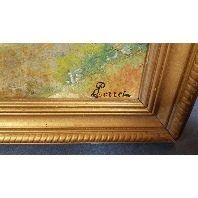 French Early 20th Century Antique Perrell Oil on Board Signed Painting For Sale - Image 3 of 5