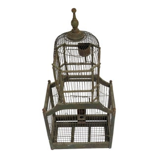 19th Century French Wood & Wire Bird Cage For Sale