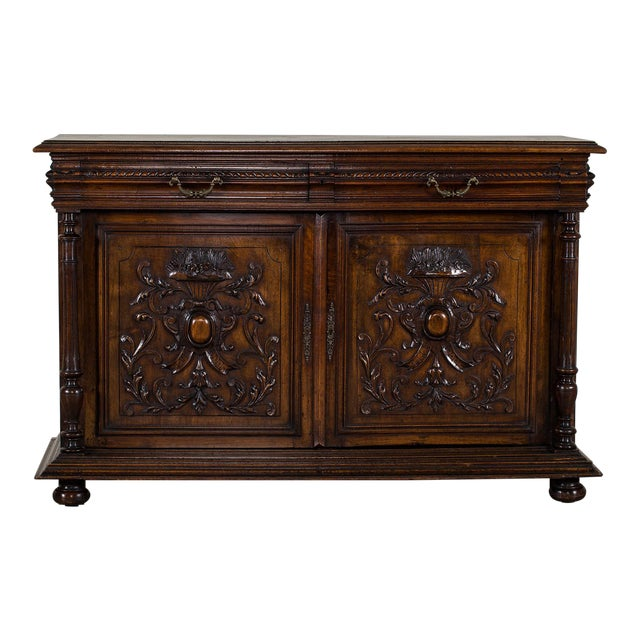 Antique French Henri II Style Walnut Buffet circa 1875 For Sale