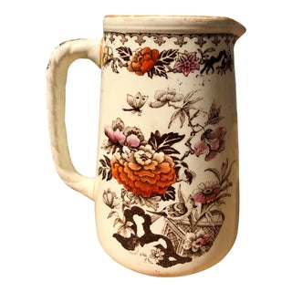 "Early 1800s Wedgwood ""Bullfinch"" Hand Colored Floral Transferware Creamer Pitcher For Sale"