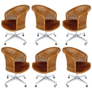 1960s Mid-Century Modern Daystrom Rattan & Stainless Steel Swivel Chairs - Set of 6 For Sale