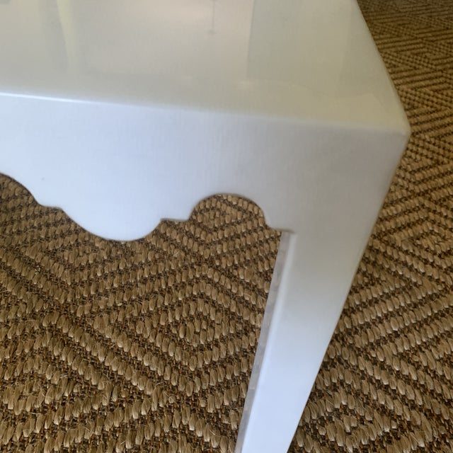 White Lacquered Grass Cloth Moroccan Style Side Tables- a Pair For Sale In New York - Image 6 of 12