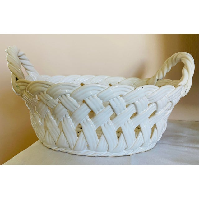 Rustic European Vintage Ceramic Open-Work Oval Handled Basket From Portugal For Sale - Image 3 of 7
