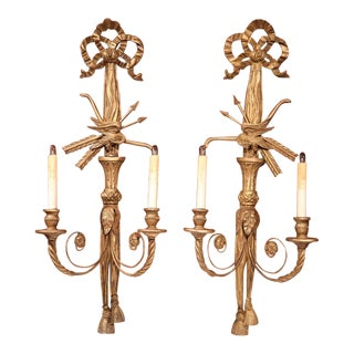 19th Century French Louis XVI Carved Sconces - A Pair For Sale