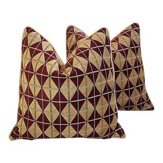 "24"" Custom Tailored Diamond Chenille/Velvet Feather/Down Pillows - a Pair For Sale"