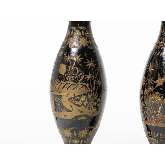Pair of Brass Etched Asian Motif Table Lamps For Sale - Image 4 of 7