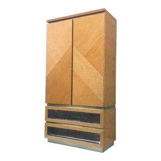 Boho Modern Bamboo Front Armoire Dresser For Sale