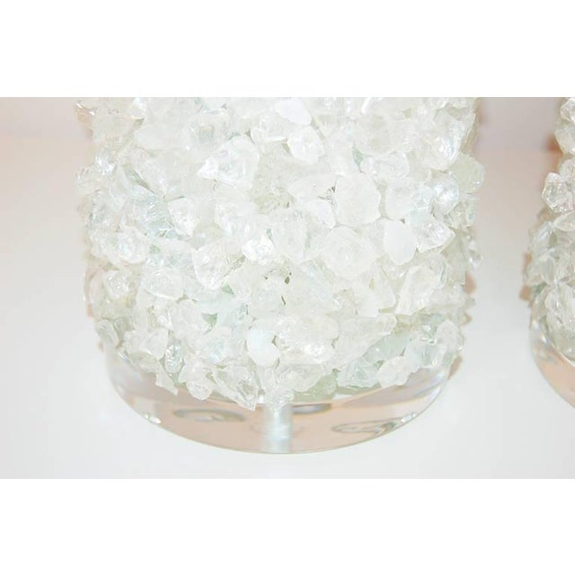 Glass Rock Table Lamps by Swank Lighting White Ice For Sale - Image 10 of 10