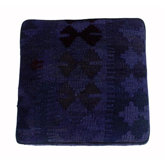 1990s Arshs Delsie Purple/Drk. Gray Kilim Upholstered Handmade Ottoman For Sale - Image 5 of 8