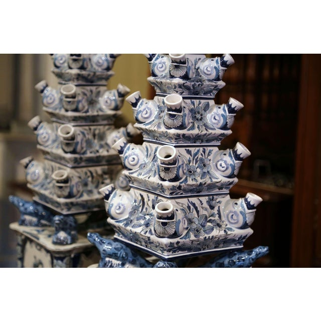 "Pair of Painted Blue and White Porcelain Maottahedeh Tulip Pagodas ""Tulipieres"" For Sale In Dallas - Image 6 of 13"