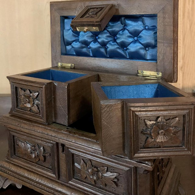 Wood Jewelry Box, 19th Century French Hand-Carved Walnut For Sale - Image 7 of 12