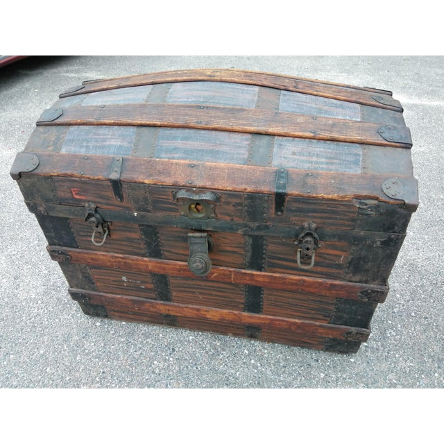 Metal 19th Century Gothic Travel Trunk For Sale - Image 7 of 7