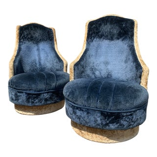 Mid Century Crushed Velvet Chairs- a Pair For Sale