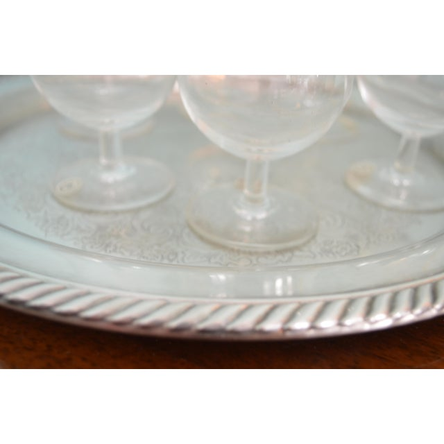 English Vintage 1980s Drinks Tray & Val St-Lambert Cordial Glasses - 7 Piece Set For Sale - Image 3 of 4