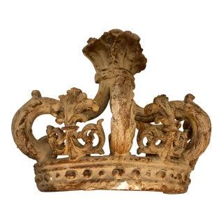 Italian Antique Plaster Crown Sculpture Wall Decor For Sale