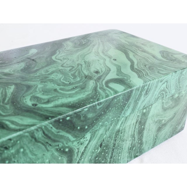 Gorgeous faux malachite box in hues of light to emerald to dark green. Excellent condition