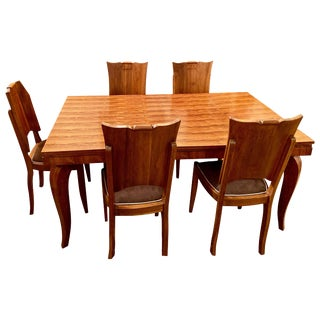 French Art Deco Dining Room Suite Buffet, Table 6 Chairs Attrib. To Jule Leleu For Sale