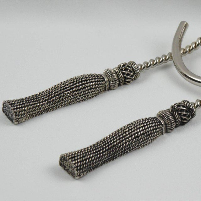 Mid-Century Silver Plate Wine Bottle Holder Pourer Caddy Rope and Tassel Design For Sale - Image 4 of 7