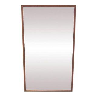 Danish Deep Frame Teak Rectangular Wall Mirror For Sale