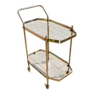 1980s Vintage Brass Bar Cart