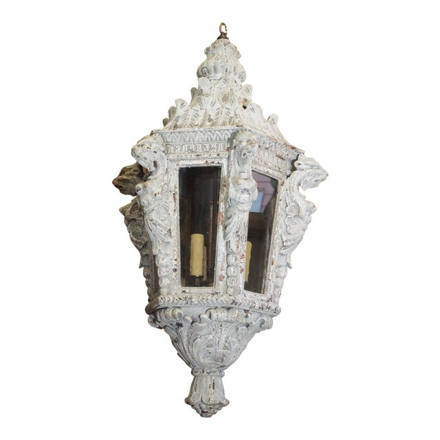 Italian Carved Wood Lantern For Sale