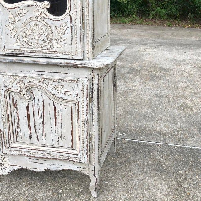 18th Century Country French Painted Bookcase ~ Buffet a Deux Corps For Sale - Image 12 of 13